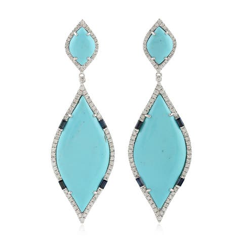 18Kt Gold Diamond Designer Sapphire Turquoise Dangle Earring Gemstone Jewelry