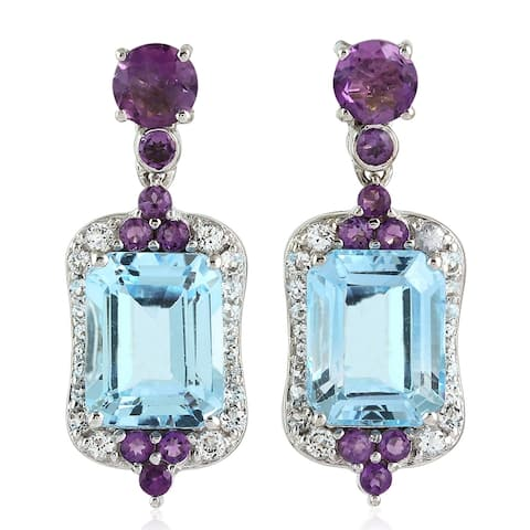 925 Sterling Silver Designer Amethyst Topaz Dangle Earring Semiprecious Stone Jewelry
