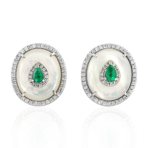 18Kt Gold Diamond Designer Emerald Mop Stud Earring Pearl Jewelry