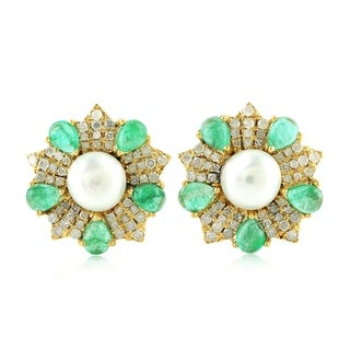 14Kt Gold Diamond Star Emerald Pearl Stud Earring Pearl Jewelry