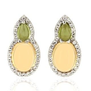 925 Sterling Silver Designer Citrine Peridot Topaz Stud Earring Semiprecious Stone Jewelry