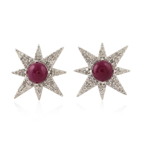 18Kt Gold 925 Sterling Silver Diamond Star Ruby Dangle Earring Precious Stone Jewelry