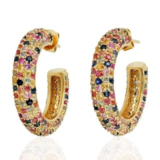 18Kt Gold Designer Sapphire Hoop Earring Pave Jewelry