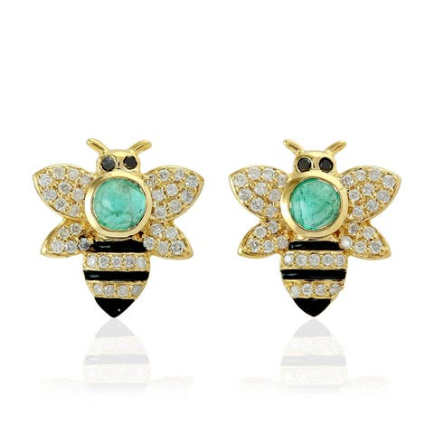 18Kt Gold Diamond Fauna Emerald Stud Earring Precious Stone Jewelry