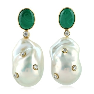 18Kt Gold Diamond Designer Malachite Pearl Chiness Dangle Earring Pearl Jewelry