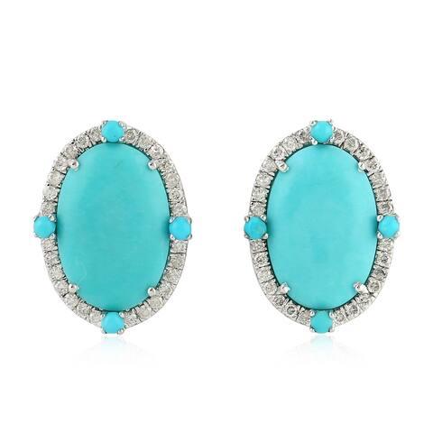 18Kt Gold Diamond Designer Turquoise Stud Earring Gemstone Jewelry