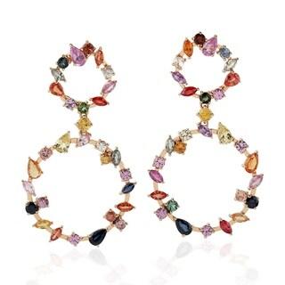 18Kt Gold Designer Sapphire Dangle Earring Precious Stone Jewelry