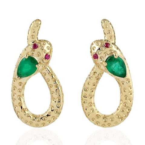 18Kt Gold Snake Emerald Ruby Dangle Earring Precious Stone Jewelry