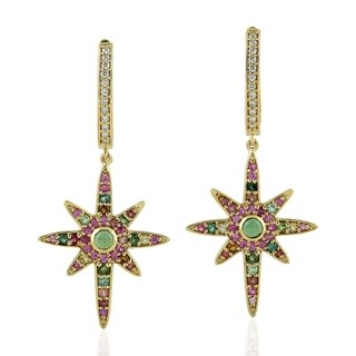 18Kt Gold Diamond Star Burst Tourmaline Hoop Earring Gemstone Jewelry