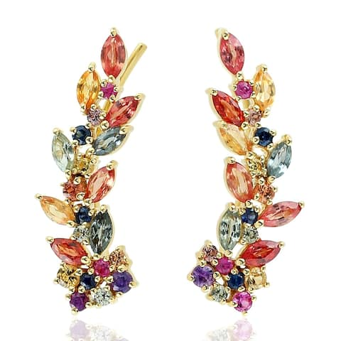 18Kt Gold Designer Sapphire Ear Climber Earring Precious Stone Jewelry With Jewelry Box