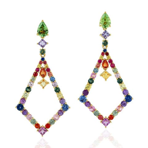 18Kt Gold Designer Sapphire Tourmaline Dangle Earring Precious Stone Jewelry
