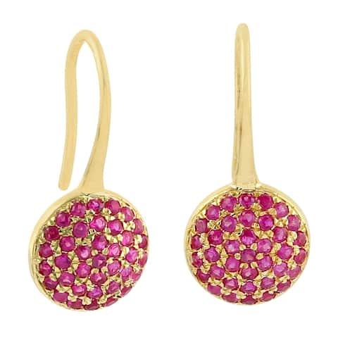 14k Yellow Gold Designer Ruby Ear Hook Earrings Precious Stone Jewelry