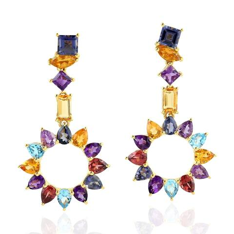 18Kt Gold Designer Amethyst Citrine Garnet Iolite 1.1,Topaz 0.65 Dangle Earring Semiprecious Stone Jewelry