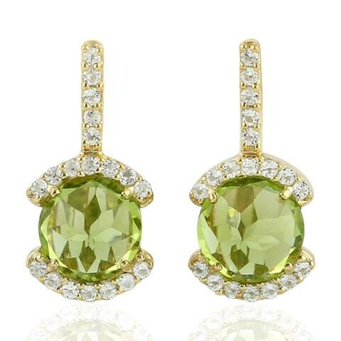 925 Sterling Silver Designer Peridot Topaz Stud Earring Semiprecious Stone Jewelry With Free Jewelry Box