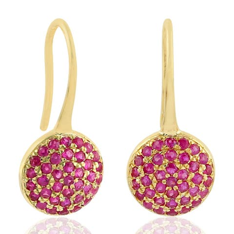 18k Yellow Gold Ruby Ear Hook Earring Precious Stone Jewelry By Artisan