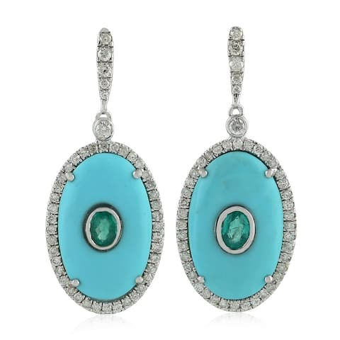 18Kt Gold Diamond Designer Emerald Turquoise Dangle Earring Gemstone Jewelry