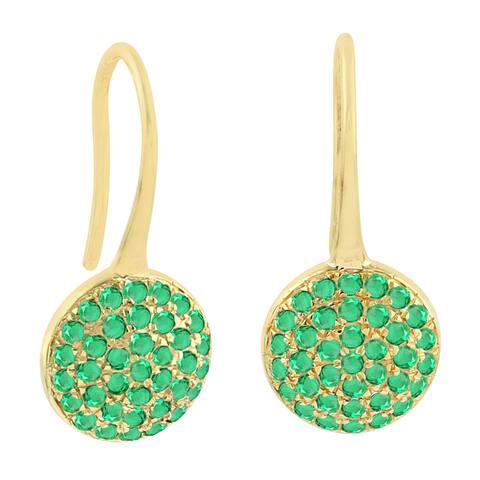 18K Yellow Gold Designer Emerald Ear Hook Earrings Precious Stone Jewelry