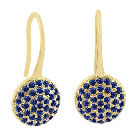 18K Yellow Gold Designer Ear Hook Earrings Sapphire Precious Stone Jewelry