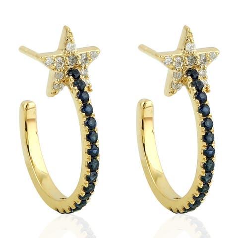 18Kt Gold Diamond Designer Sapphire Hoop Earring Pave Jewelry