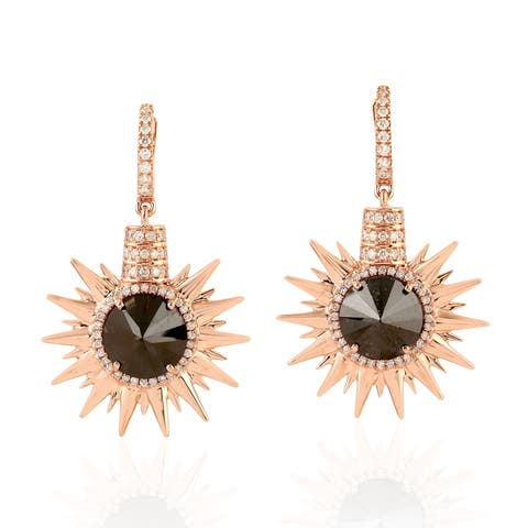 18Kt Gold Diamond Star Burst Dangle Earring Pave Jewelry