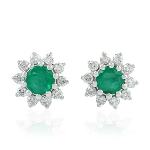 18Kt Gold Diamond Designer Emerald Stud Earring Gemstone Jewelry