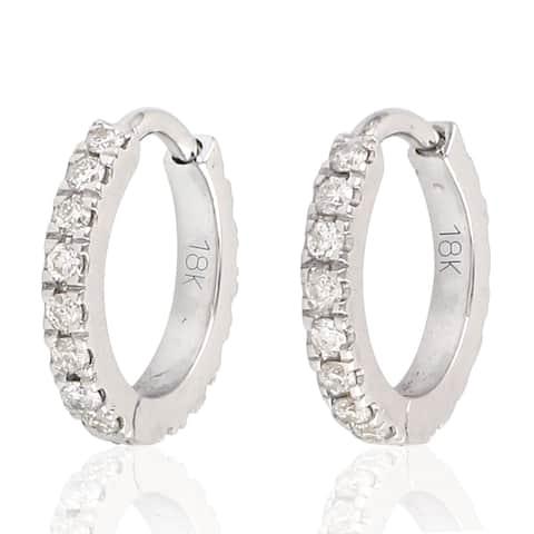 18Kt Gold Diamond Designer Hoop Earring Micro Pave Jewelry