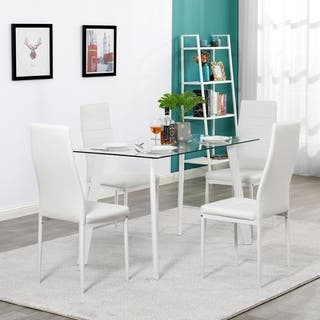 5 PCS Dining Table Set Modern Tempered Glass Top Table and PVC Leather Chair Dining Room Kitchen Furniture