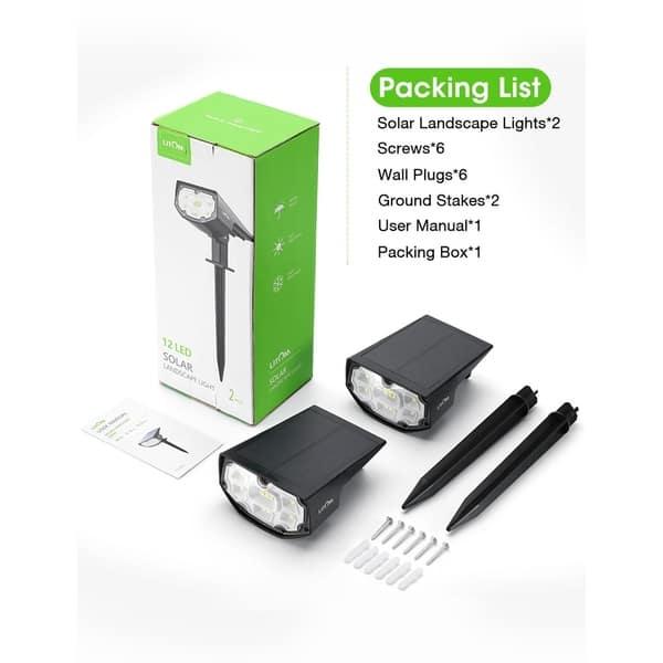 2Pack 12 LED Solar Lights Landscape Spotlight Outdoor Garden Lamp Waterproof US