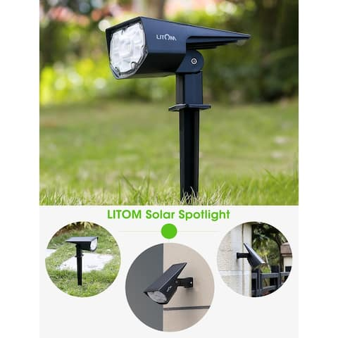 LITOM 4PC Solar Lights 12 LED Solar Landscape Lights Outdoor IP67 Waterproof Solar Landscape Spotlight for Garden Yard