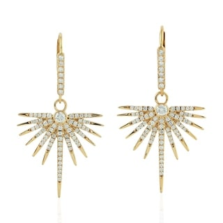 18Kt Gold Diamond Star Burst Dangle Earring Micro Pave Jewelry