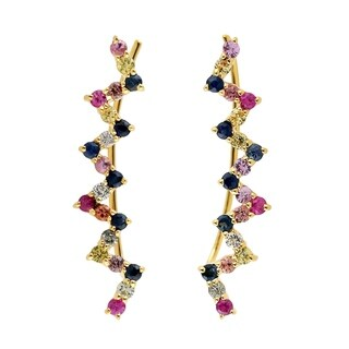 18Kt Gold Designer Sapphire Ear Climber Earring Precious Stone Jewelry