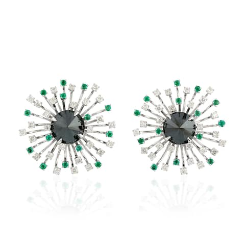 18Kt Gold Diamond Designer Emerald Stud Earring Precious Stone Jewelry