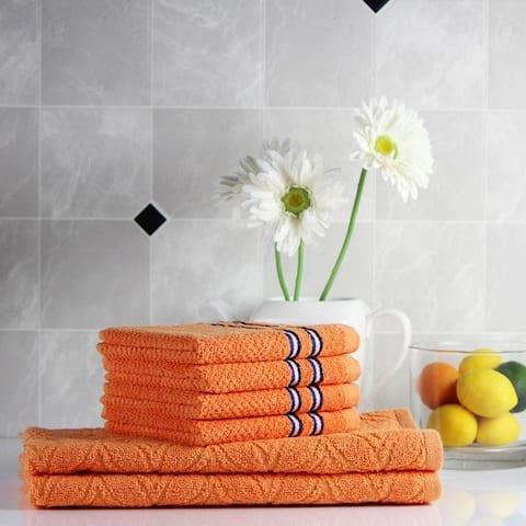 Freshee (6) Piece Kitchen Assortment - (2) Solid Kitchen Towels, (4) Solid Dishcloths - 100% Cotton