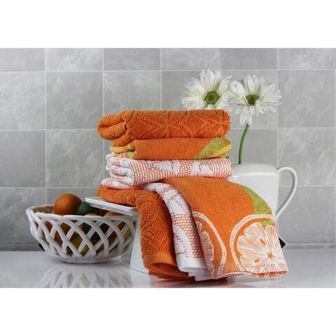 Freshee (6) piece Kitchen Towel Set - (2) Solid, (2) Print, (2) Sculpted - 100% Cotton