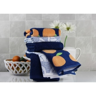 Freshee (6) piece Kitchen Towel Set - (2) Solid, (2) Print, (2) Sculpted - 100% Cotton