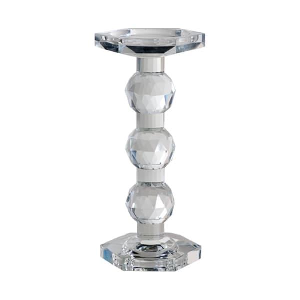 Sylvie 10-inch Clear Crystal Pillar Candle Holder