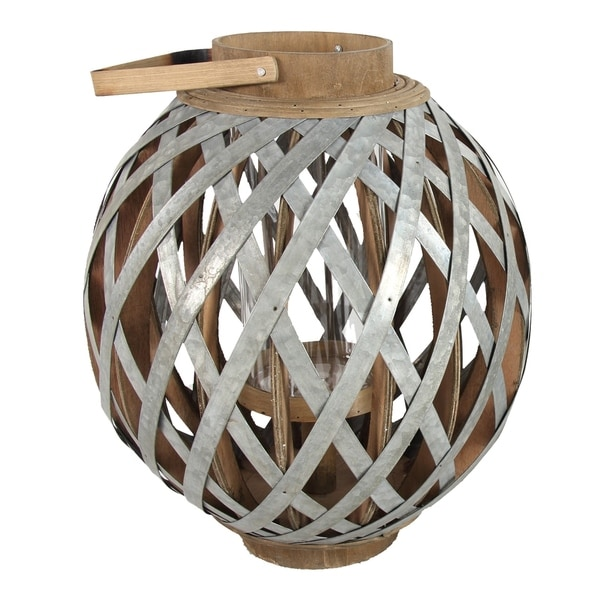 Shanghai 17-inch Silver and Natural Round Lantern