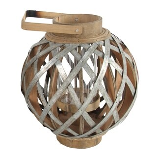 Shanghai 13-inch Silver and Natural Round Lantern