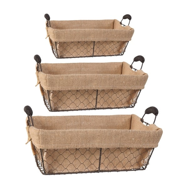 Joyce Brown Rectangle Baskets with Canvas Cloth (Set of 3)