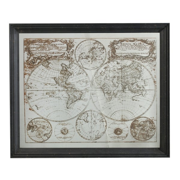 Black and Mutli-Color 42-inch Cartography Mirror