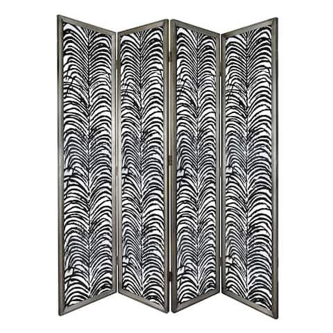 Herero 73-inch Black and Antique Four-Panel Decorative Screen