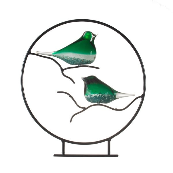 Green and Black 17-inch Glass Birds on Metal Stand