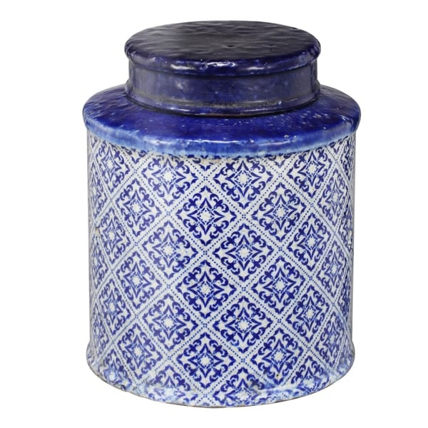 White and Blue 9-inch Lidded Jar