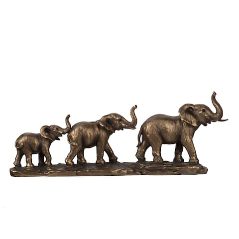 Copper 4-inch Elephant Family Statue