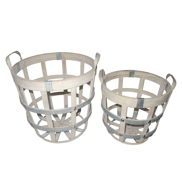 Whitewash and Silver 13-inch Round Rustic Baskets (Set of 2)