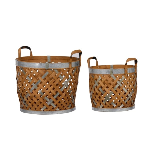 Warm Natural and Silver Wooden Round Woven Baskets (Set of 2)