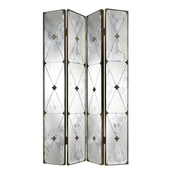 Dark Brass 4-Panel Mirrored Screen