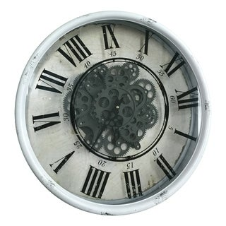 White 20-inch Vintage Gear Wall Clock