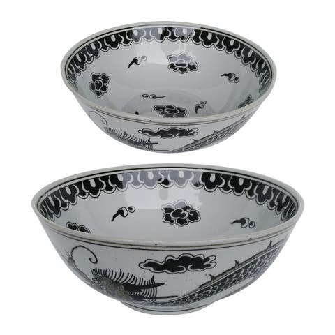 Dorete 7-inch White and Black Nested Decorative Bowls (Set of Two)