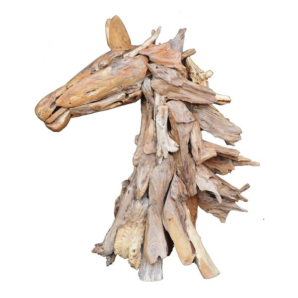 Teak 37-inch Horse Sculpture